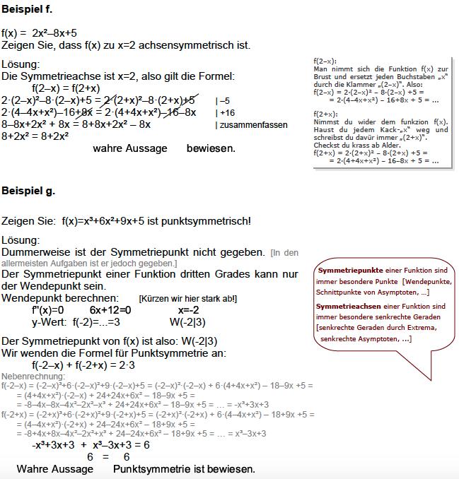 Symmetrie von Funktionen, Punktsymmetrie, Achsensymmetrie ...